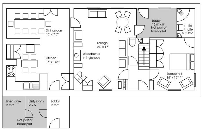 The Old Farmhouse Kitchen/dining room floorplan