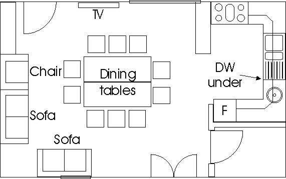 Piggery Poke Kitchen/dining room floorplan